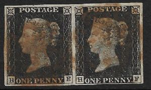 SG2 1840 Penny Black Pair Plate 2 HE-HF 4 Margins